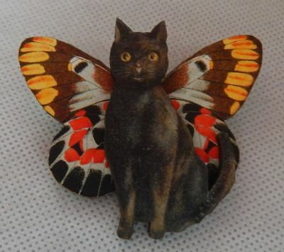 Black Cat Fairy Brooch or Scarf Pin Wood Accessories Fashion NEW Butterfly Wings