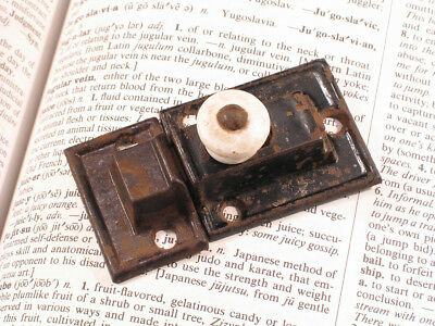 Victorian Cupboard Cabinet Door Latch with Porcelain Knob & Keeper