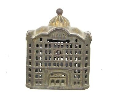Antique Cast Iron Bank Building Still Bank With Golden Dome Top