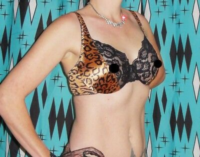 Vintage Leopard Print Push Up Bra 40 C pin up clothing girl retro sheer lace