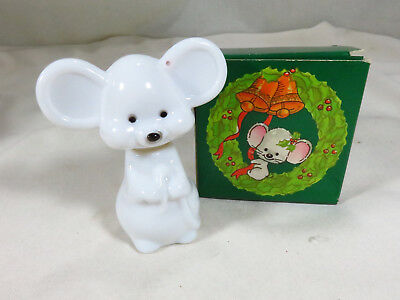 Vintage AVON MERRY MOUSE Milk Glass ZANY COLOGNE Christmas Collectible NIB