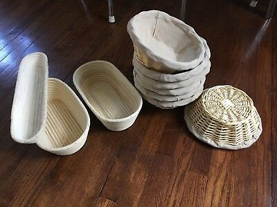 Bread Banneton Wicker Basket with Linen Liner, 10'' Diameter - 7 Available +more