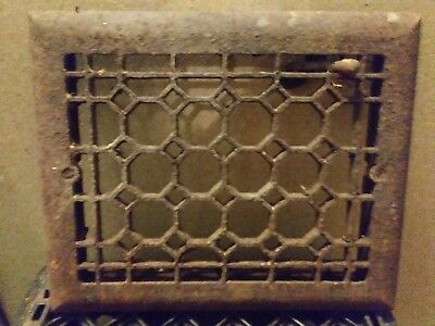 Antique cast iron honey comb heat vent grate. 11 3/4in x 9 1/2in
