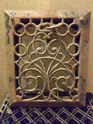 Antique cast iron Art Deco heat vent.Vintage heat grate 9 3/4in x 11 3/4in
