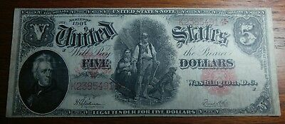 1907 $5 US Legal Tender WoodChopper Large Note Red Seal