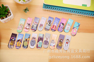 18pc Animals Cats Dogs Rabbits Magnetic Cute Bookmarks Book Markers With Magnet