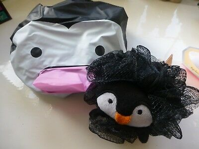 PENGUIN GIFT SET Bath Scrunchie Body Puff Shower Cap Fun Novelty