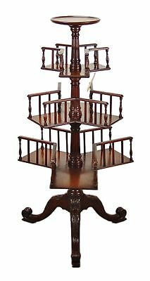 Antique English Victorian Mahogany Revolving Book Case Shelf Plant Stand