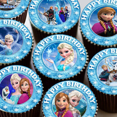 Frozen Mixed Elsa Anna Images Happy Birthday Edible Cupcake Topper Decoration
