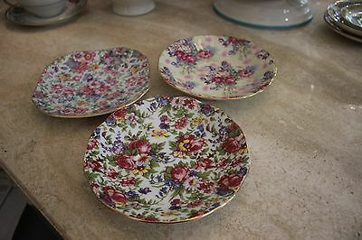 ROYAL Cotswalds Chintz THREE SAUCERS (no cups) Vibrant Colors ALL THREE PERFECT!