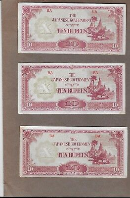 Lot of 3 WW2 Japanese Occuption Notes 10 Rupees