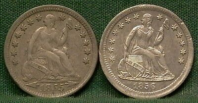 1855 & 1856 Seated Liberty Half Dimes F/VF Details