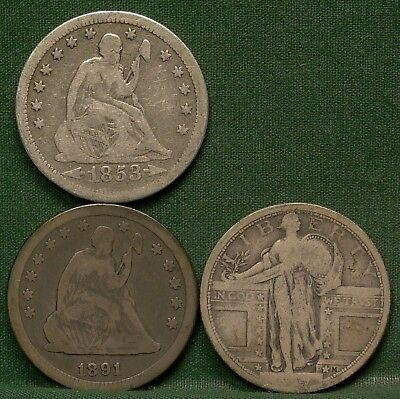 1853 & 1891 Seated Liberty &  1917 Standing Liberty Quarters Low Grade