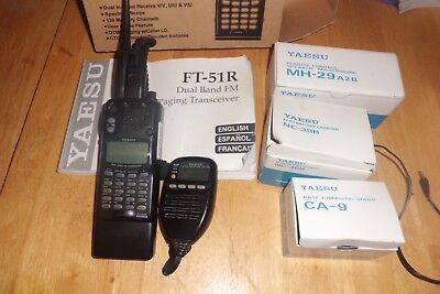 Yaesu FT 51R Dual Band Transceiver with MH29-A2b display mic and Charger