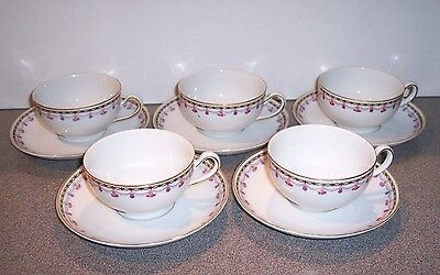 5 H & C  Heinrich & Co. Selb Bavaria China Cup Cups and Saucer Saucers - VGC