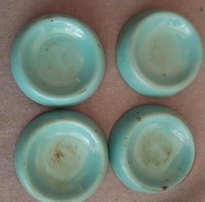 Set of 4 Antique Cast Iron with Blue Enamel Castor Cups By Moffat