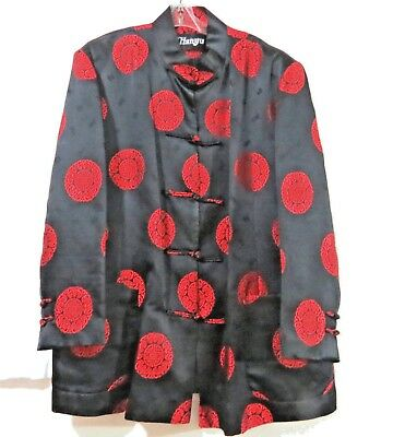 Mens Chinese Jacket Brocade Red and Black Longevity M to L