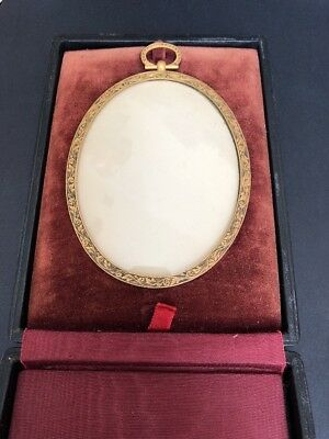 Antique French Bronze picture photo Frame Empire Style Oval Shape Mint In Box