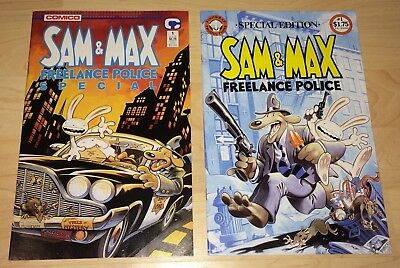 Sam & Max Comic Lot! Freelance Special 1 & Fishwrap Edition 1! Steve Purcell