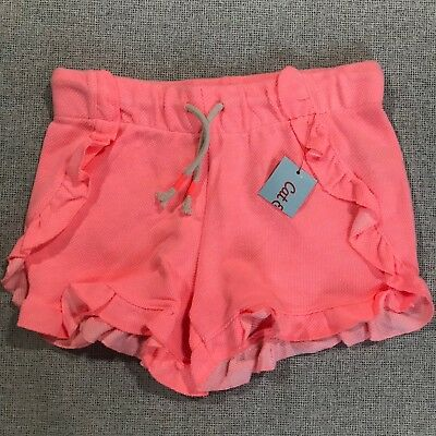 Cat and Jack Girls Sz Small 6/6X Pink Ruffle Knit Draw String Shorts NWT