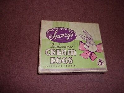 Vintage Snerry's Chocolate Covered Cream Eggs box only Easter Advertising