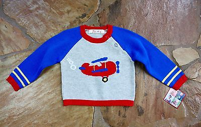 NEW Hand Knit Zubels Airplane Sweater 12 mths Boys Spring
