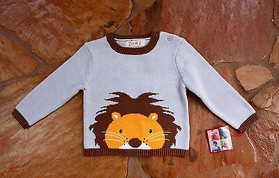 NEW Hand Knit Zubels Lion Sweater 18 mths Boys Blue Brown