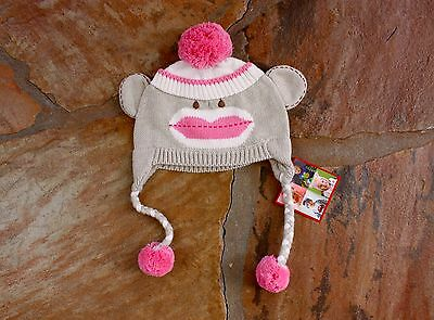 NEW Zubels Hand Knit Pink Sock Monkey Hat Girls 12 18 24 mths Pink