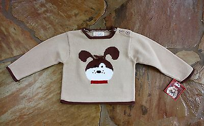 NEW Hand Knit Zubels Brown Dog Sweater 18 mths Boys