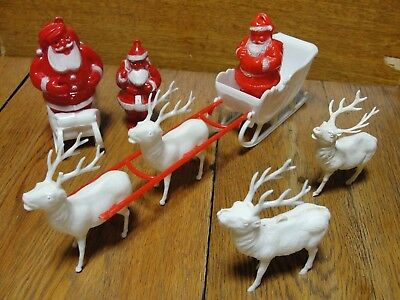 Vintage Plastic Santa Claus Figure Sleigh Candy Container Christmas Ornament