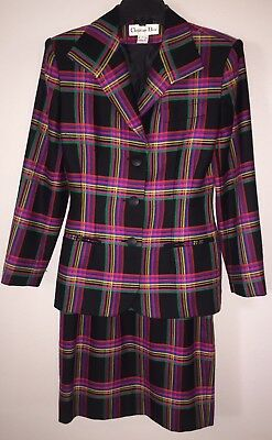 VINTAGE RARE MINT Christian Dior Skirt Suit Jacket Blazer 100% Wool USA Size 6