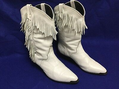 Fringe White Cowboy Boots Country Western Dance Ladies Women Size 9 Shoe