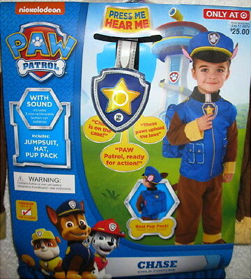 PAW Patrol Chase Police Dog Costume Child's 2-3 Yrs Boys Kids Toddler Size 2T-3T