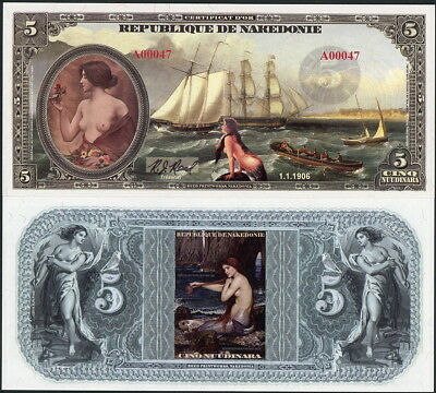 Topless Women, Mermaids, Old Ships Nakedonie 5 Nuudinara Fantasy Art Note!