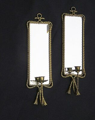 Pair of Vintage Mirror Brass Wall Sconce Candle Holders Hollywood Regency