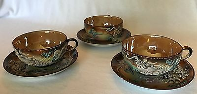 Antique Vintage China Tea Set of 3 Raised Dragon Cups and Saucers Made in Japan