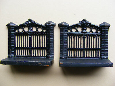 Antique Vintage cast Iron Bookends, Garden Gate design