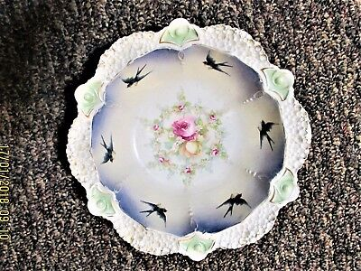 Beautiful Large Rs Prussia Serving Bowl Swallows Birds Pink Roses Daisies
