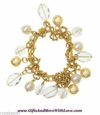 Gymboree NWT Gold Metallic HOLIDAY PEARL BEAD PULL ON BRACELET JEWELRY GIFT ~ OS