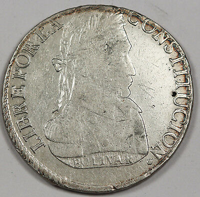 Bolivia 1834 PTS LM 8 Soles Silver Coin XF KM #97 POTOSI Mint
