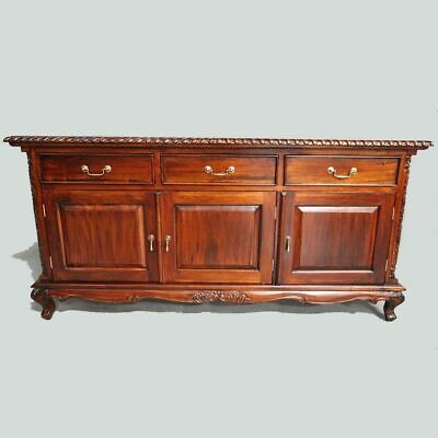 Antique Style Solid Mahogany Wood Queen Ann Style 3 Door Buffet