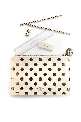 Kate Spade Ivory/Gold Polka Dot Pencil Pouch Case Set Eraser/Ruler/Sharpener NEW