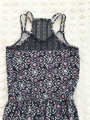 Girls ABERCROMBIE KIDS FLORAL JUMPSUIT ROMPER SIZE 10 FLOWER PANTS Sleeveless #C