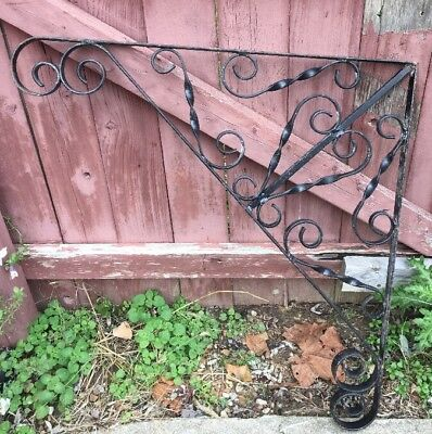 X LARGE Mid Century FANCY Wrought Iron Sign Hanger Bracket Brace Support Vintage