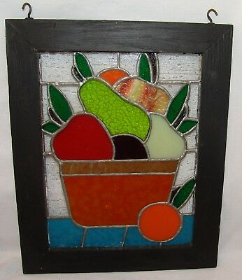 """Stained Glass Picture Fruit Kitchen Art 11"""" x 13"""" Window Pane Leaded"""