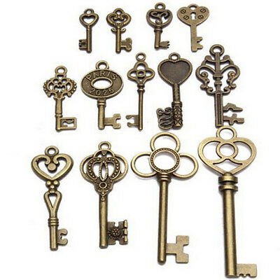 Set of 13 Antique Vintage Old Look Bronze Skeleton Key Fancy Heart Bow Pendant .