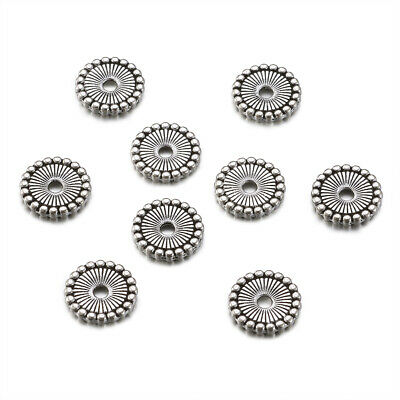 100pcs Tibetan Silver Alloy Metal Beads Flat Disc Decorative Loose Spacers 12mm