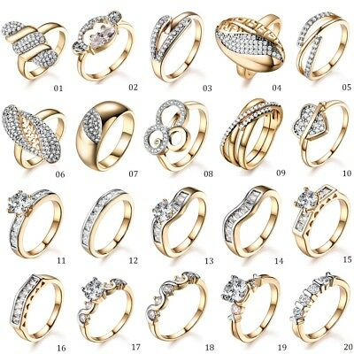 HUCHE Women White & Yellow Gold Filled Clear Crystal Finger Ring Wedding Jewelry
