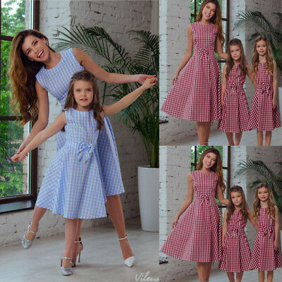 Mother And Daughter Matching Dress Bowknot Plaid Maxi Dress Sundress Outfits