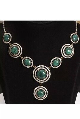 Gorgeous!  Antique Vintage Silver Malachite and Topaz  Necklace (50Gram).